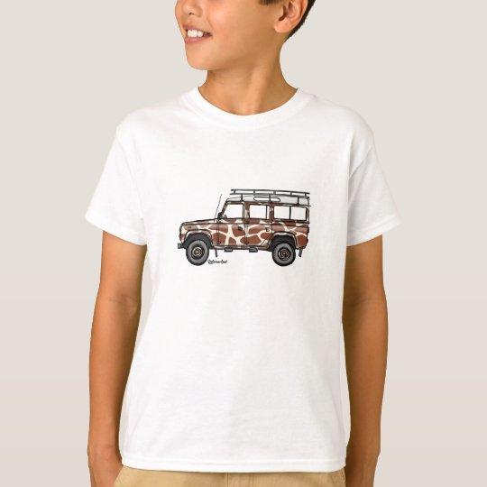 T-shirt met stoere Defender in giraffe print