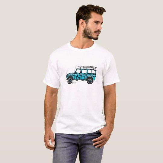 T-shirt met stoere print van Defender in blauw