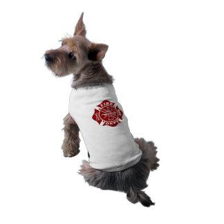 T-shirt van de brandbestrijder/de Maltese Dwars Mouwloos Hondenshirt