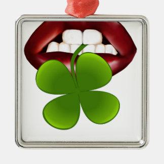 t-shirt van de kus de hete Ierse gift Zilverkleurig Vierkant Ornament