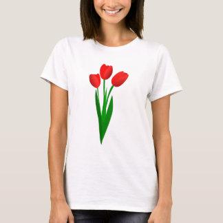 T-shirt van drie de Rode Tulpen van de Cartoon