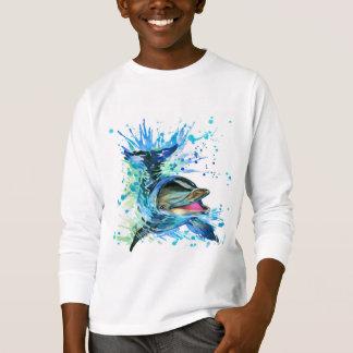 T-shirt van het Sleeve van de Dolfijn van de
