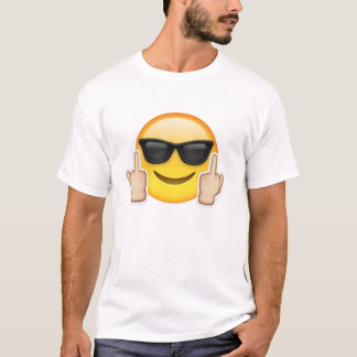 T-shirt wit + emoji smiley bril + f*ck HUMOR