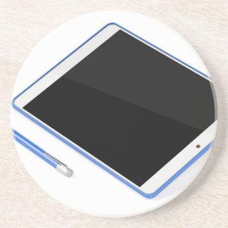 Tablet op tribune en digitale pen zandsteen onderzetter