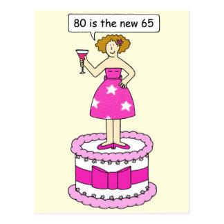 Tachtig zijn nieuwe vrouwelijke verjaardag briefkaart