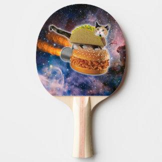 taco kat en rakethamburger in het heelal tafeltennis bat