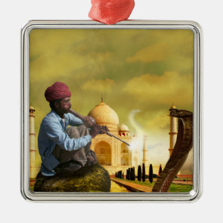 Taj Mahal Zilverkleurig Vierkant Ornament