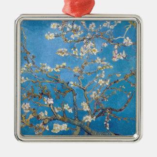 Takken met Almond Blossom Van Gogh het schilderen Zilverkleurig Vierkant Ornament