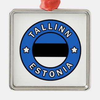 Tallinn Estland Zilverkleurig Vierkant Ornament