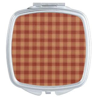 Tan de Vierkante Compacte Spiegel van het Geruite Makeup Spiegeltjes