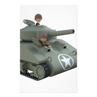 Tank en de Militairen die van de cartoon de Briefpapier