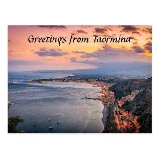 Taormina bij het Briefkaart van de Schemer