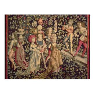 Tapijtwerk die dansers en musici afschilderen briefkaart