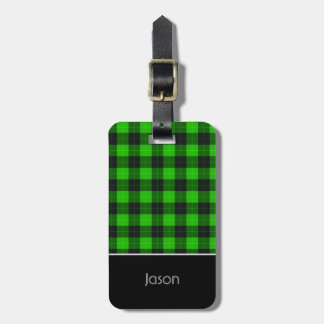 /tartan van de plaid groen en Zwart patroon Kofferlabels