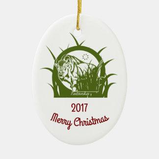 Tatanka - Vrolijke Kerstmis 2017 - Al Wit Keramisch Ovaal Ornament