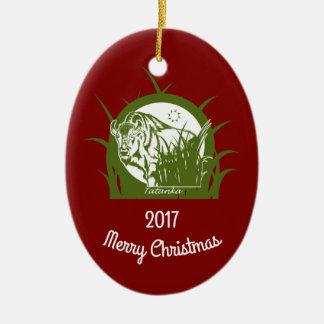 Tatanka - Vrolijke Kerstmis 2017 Keramisch Ovaal Ornament