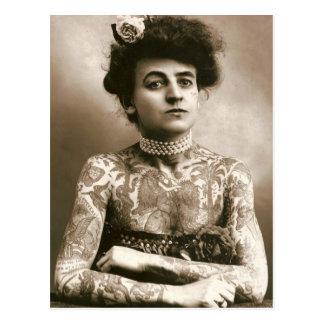 Tattoed met Parels, de Victoriaans Foto van het Briefkaart