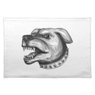 Tattoo van de Hond van Rottweiler het Hoofd Placemat