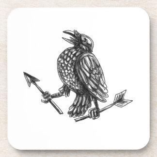 Tattoo van de Pijl van de kraai het Clutching Drankjes Onderzetters
