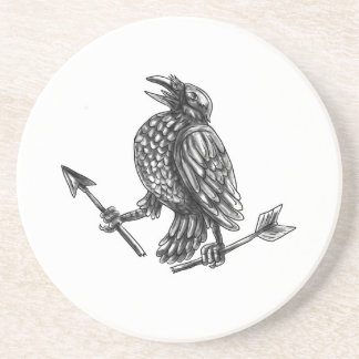 Tattoo van de Pijl van de kraai het Clutching Zandsteen Onderzetter