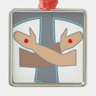 Tau Stigmata Keten, Decoratie, Ornament, Stickers Zilverkleurig Vierkant Ornament