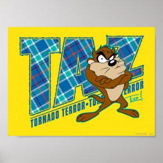 TAZ™ de Plaid van de Verschrikking van de tornado Poster