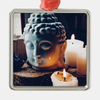 te ontspannen liefde zilverkleurig vierkant ornament