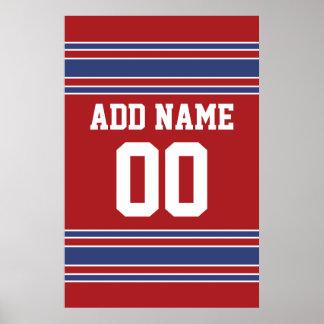 Team Jersey met de Naam en het Aantal van de Douan Poster