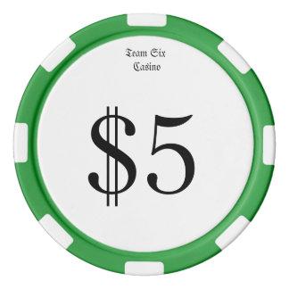 Team Zes (het Grappige Geld van het Casino) het Pokerchips