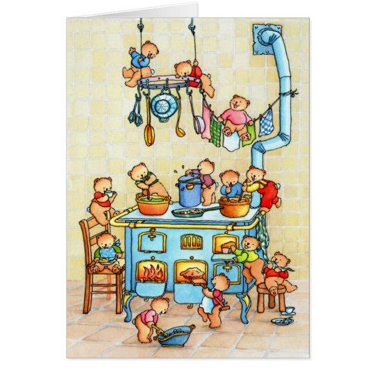 Teddy Bears Cooking in Kitchen Childrens Card Briefkaarten 0