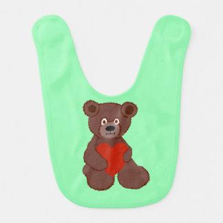 Teddy heeft een Hart Baby Slabbetje