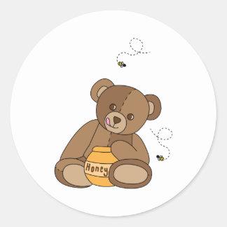 Teddybeer en Honing Ronde Sticker