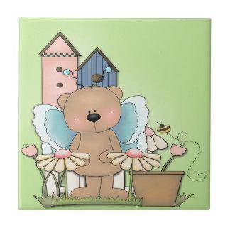 Teddybeer in Tuin Tegeltje Vierkant Small