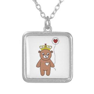 teddybeer koningin zilver vergulden ketting