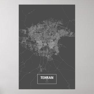 Teheran, wit Iran (op zwarte) Poster