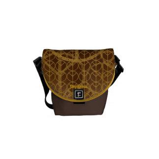 Teken van de vrede personaliseerde Bruine Geweven Messenger Bags