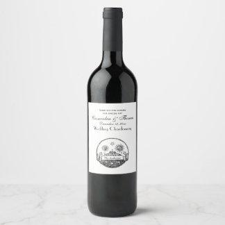 Tekening van de Aarde van de vintage van de Zon Wijnetiket