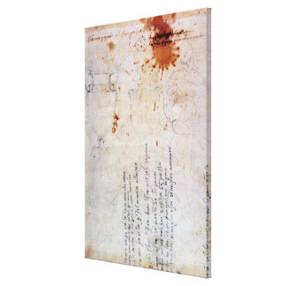 Tekening van een Urn en een Cijfer met Nota's Stretched Canvas Print