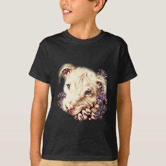 Tekening van Witte Pitbull met Lelies T Shirt