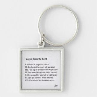 Tekens van de Aarde Zilverkleurige Vierkante Sleutelhanger