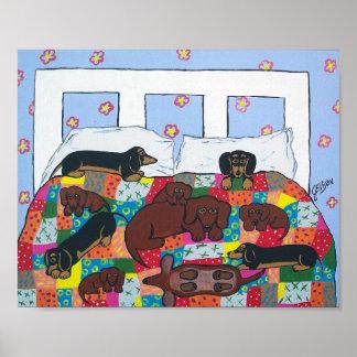 Tekkels in het Art. van het Poster van het Bed