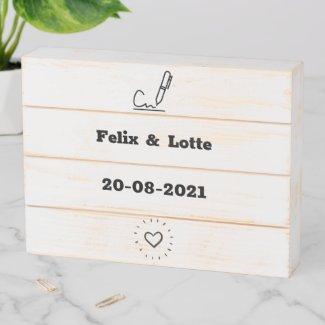 Tekstbord geregistreerd partnerschap houten kist print