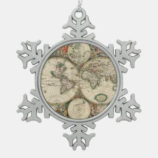Terrarum Orbis Tabula Tin Sneeuwvlok Ornament