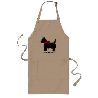Terrier met rode boogschort - wat is voor diner? lang schort