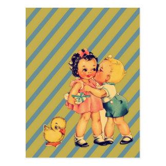 terug naar de kitsch Vintage Kind van het school Briefkaart