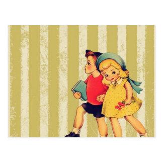 terug naar Vintage Kind van de Kitsch van school Briefkaart
