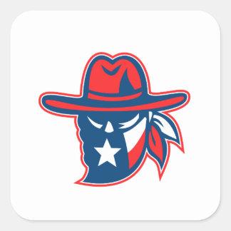Texan Mascotte van de Vlag van Texas van de Vierkante Sticker