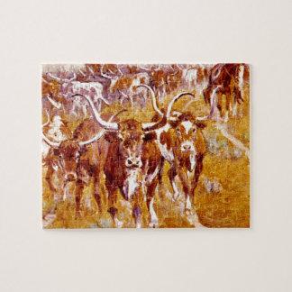 """""""Texas Longhorns"""", het Kunstwerk van Olaf Puzzel"""