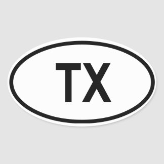 "Texas ""TX "" Ovale Stickers"