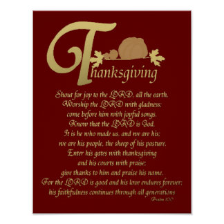 Thanksgiving - Psalm 100 Poster